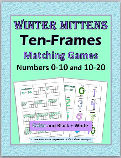 http://www.teacherspayteachers.com/Product/Winter-Mittens-Ten-Frames-Matching-Games-Numbers-0-10-and-10-20-521867