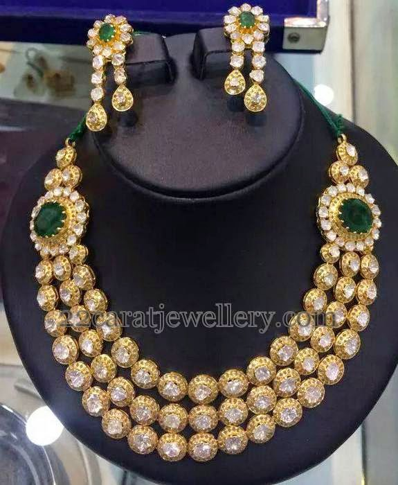 Triple Rows Diamond Set with Emeralds