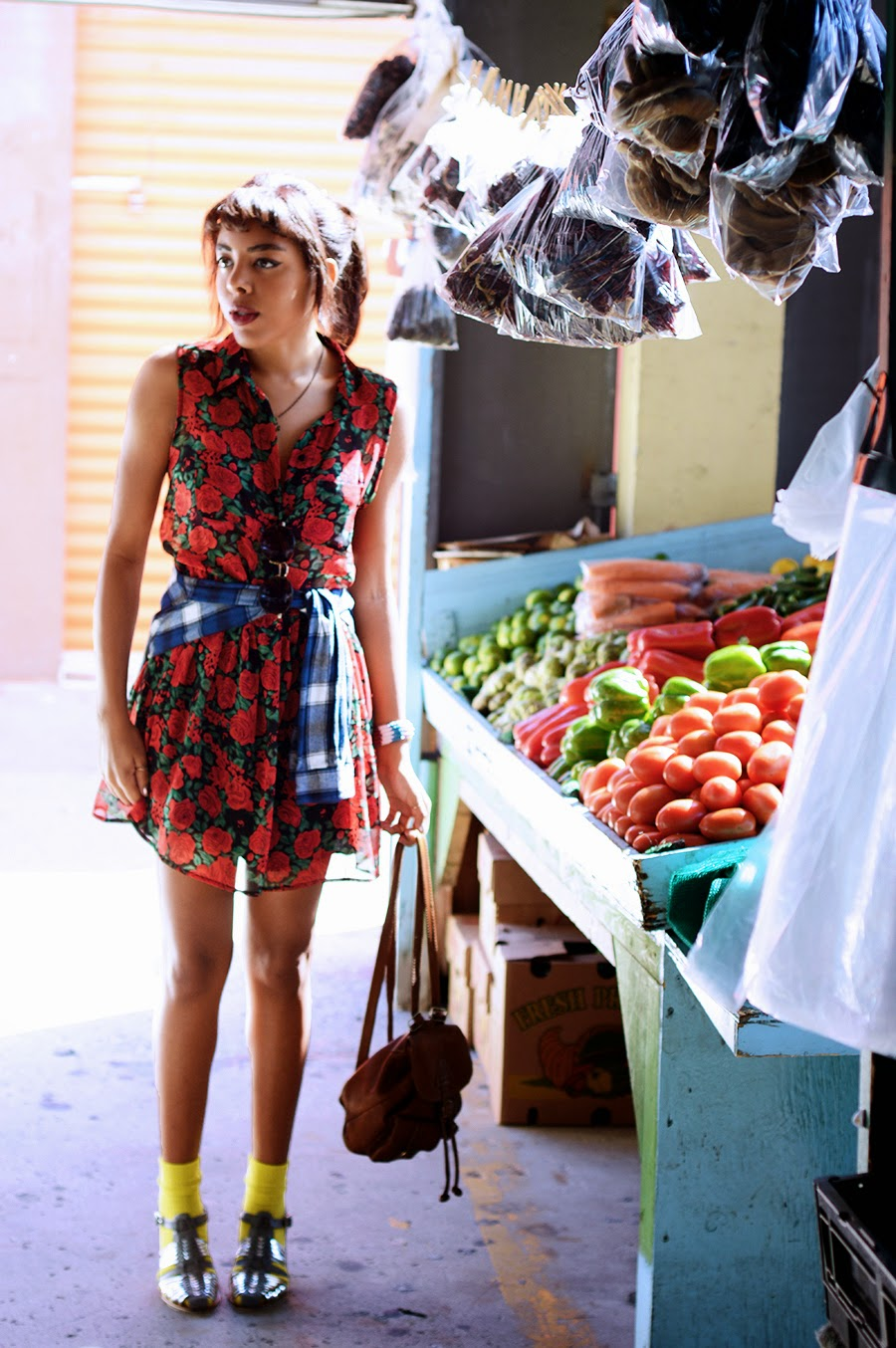 Indie Fashion Blogger Anais Alexandre of Down to Stars in a Mink Pink dress with Urban Outfitters sandals at a local fruteria
