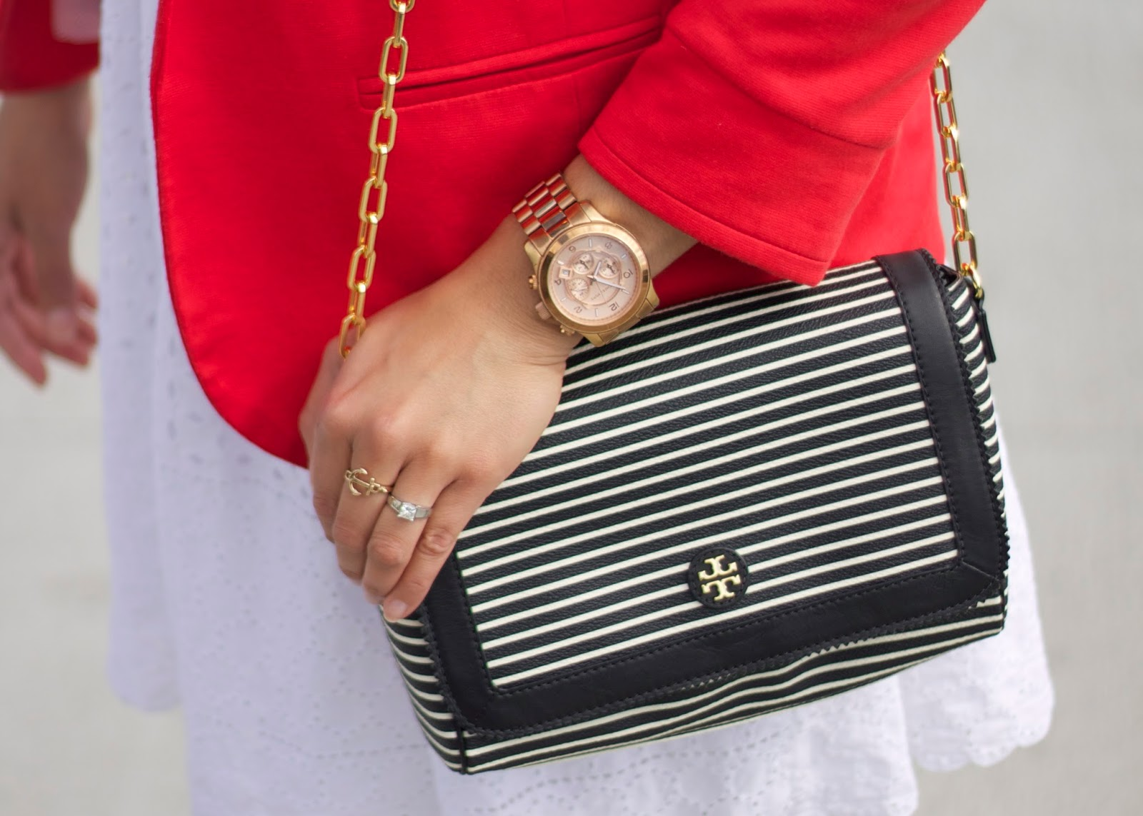Striped Tory Burch Purse, black and white purse, anchor ring