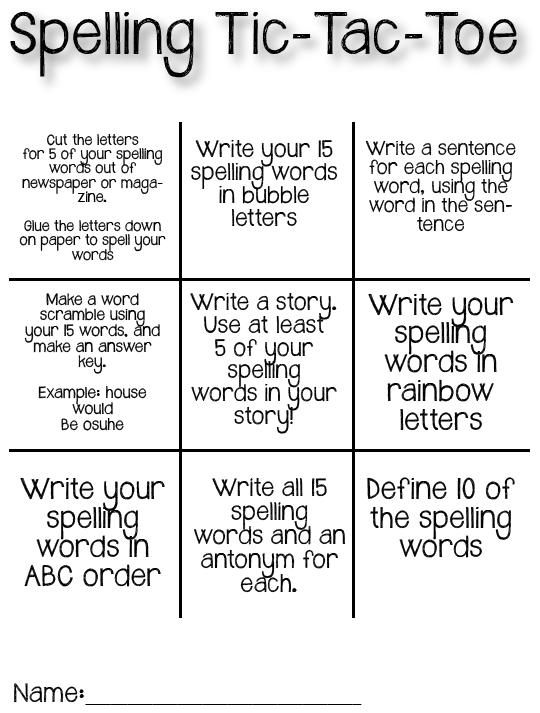 tic tac toe homework template - spelling tic tac toe the crafty teacher