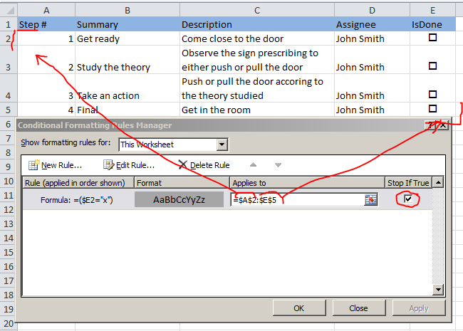 shadow the checked rows in excel checklist