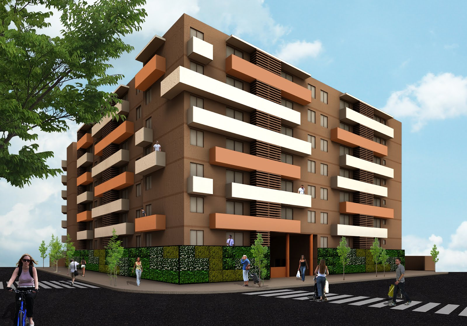 Stgo 014 proyecto talca dise o de fachada muro verde for Diseno de muros verdes