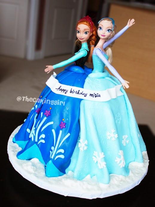 Pretty elsa and anna doll cake elsa and anna barbie dress cake