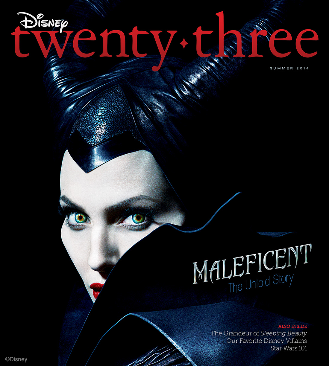 Maleficent in the summer publication of Disney twenty-three's Summer issue, available exclusively to Gold Members of D23, also includes a behind-the-engine look at Walt Disney World's newest theme park attraction, the Seven Dwarfs Mine Train