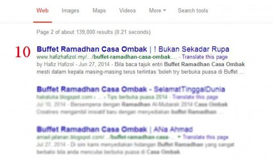 Senarai Pemenang Contest SEO Buffet Ramadhan Casa Ombak