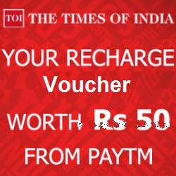 Free Rs. 50 PayTm Recharge voucher on Downloading The Times Of India News App