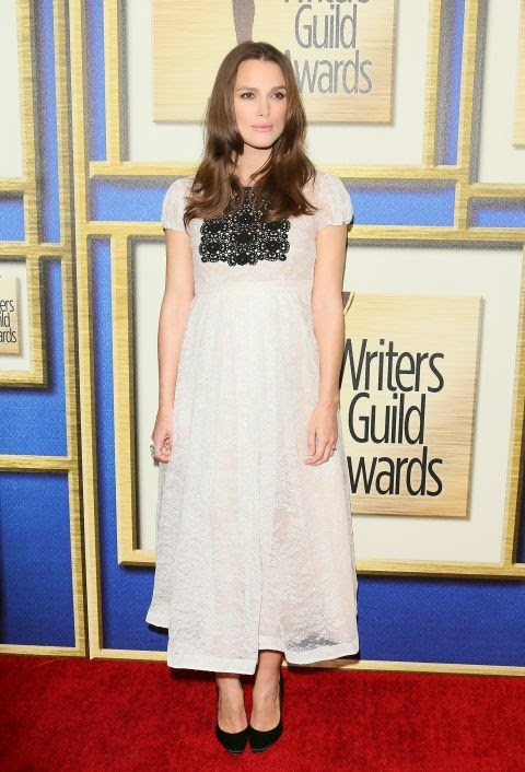 Keira Knightley's pregnant style in Burberry at the 2015 Writers Guild Awards in Los Angeles