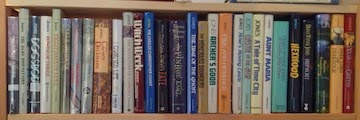 Most of my DWJ collection (they don't QUITE fit on one shelf).