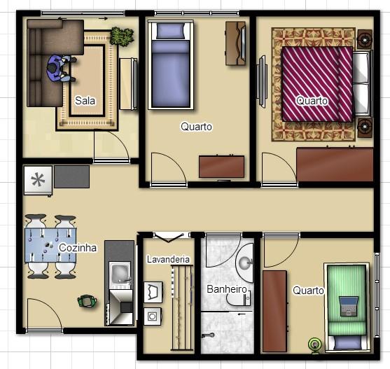 planta de apartamento pequeno decorada