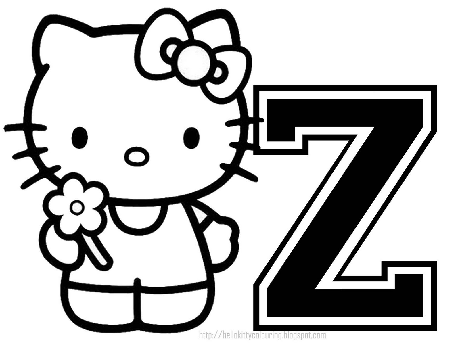 Coloring sheet letter d - Personalized Coloring Page Initial Letter Hello Kitty
