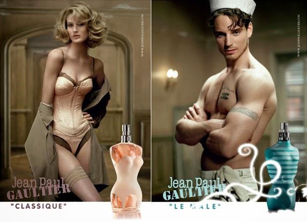 parfums jean paul gauthier le mâle et classique femme bustier et homme marin