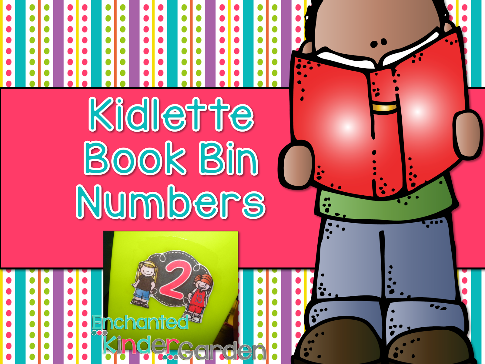 "This is a graphic for a freebie that says, ""Kidlette Book Bin Numbers."""