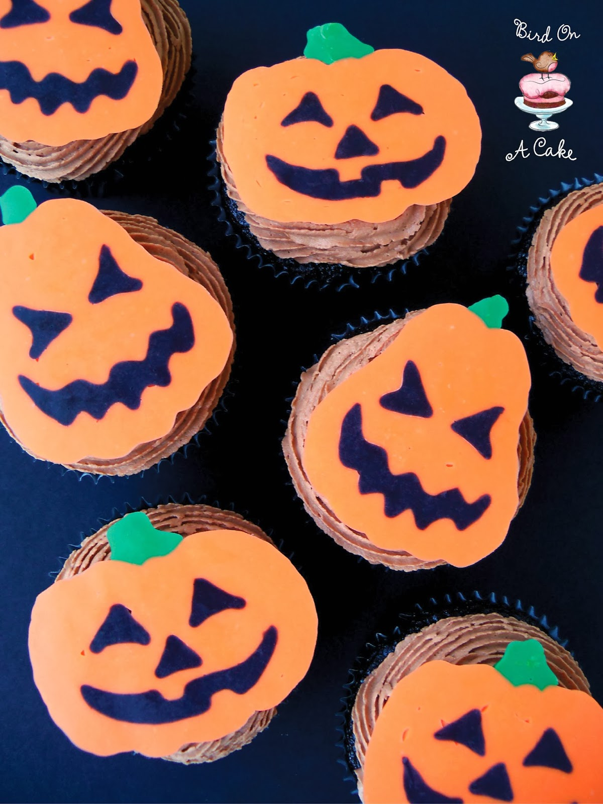 Bird on a cake jack o lantern cupcake toppers with template jack o lantern cupcake toppers with template pronofoot35fo Image collections