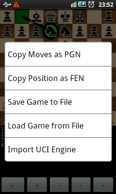 Android Chess - Context Menu