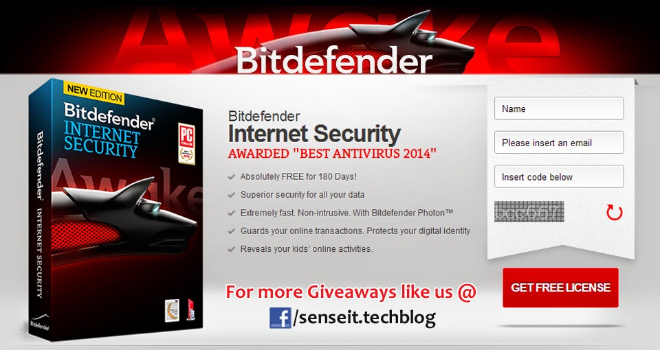 Senseit Giveaway- Bitdefender Internet Security free 180 days