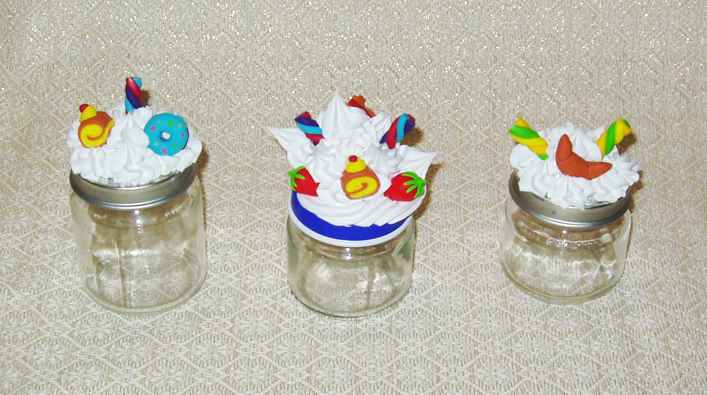 Laboratorio artistico giusy baldari barattoli in vetro con decorazioni di panna e dolci in fimo - Barattoli vetro ikea ...