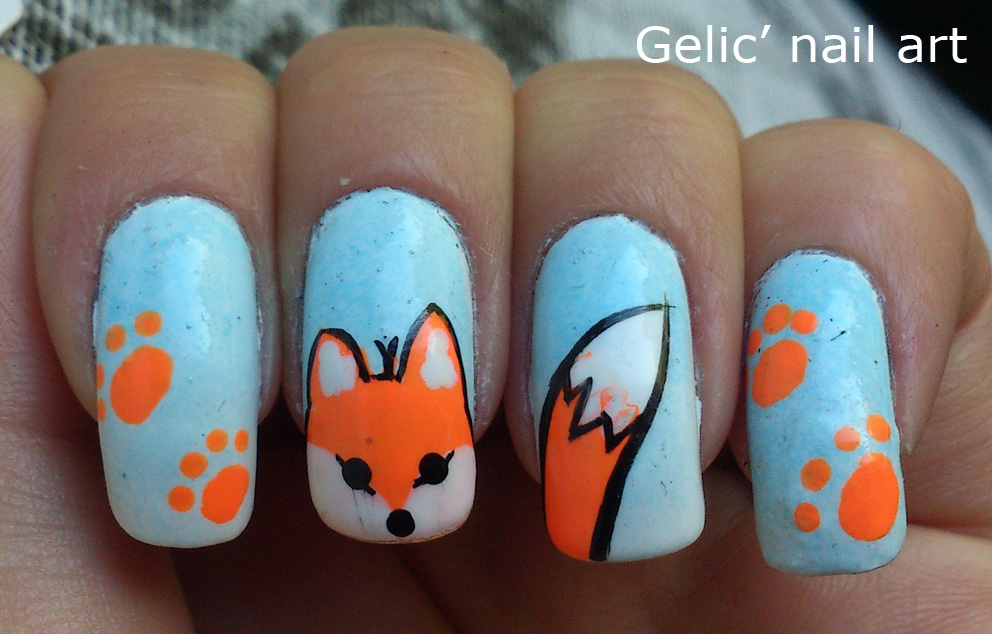 Gelic Nail Art 31dc2013 Day 13 Fox Nail Art