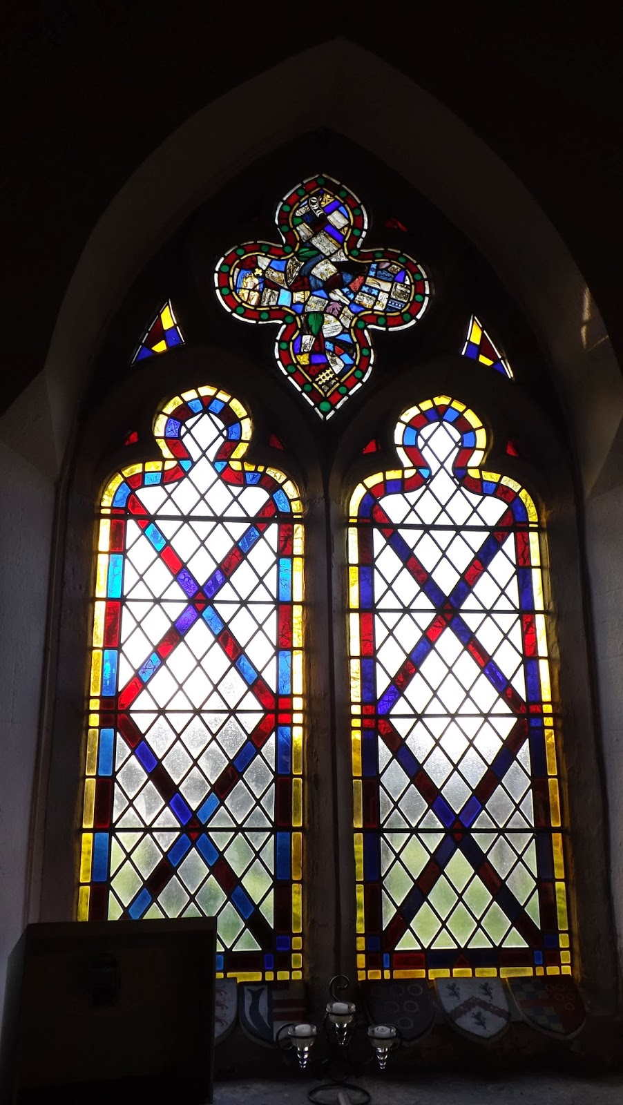 Another Simple Two Light Stained Glass Window The Rose Above Seems To Contain Some Pieces Of Much Older