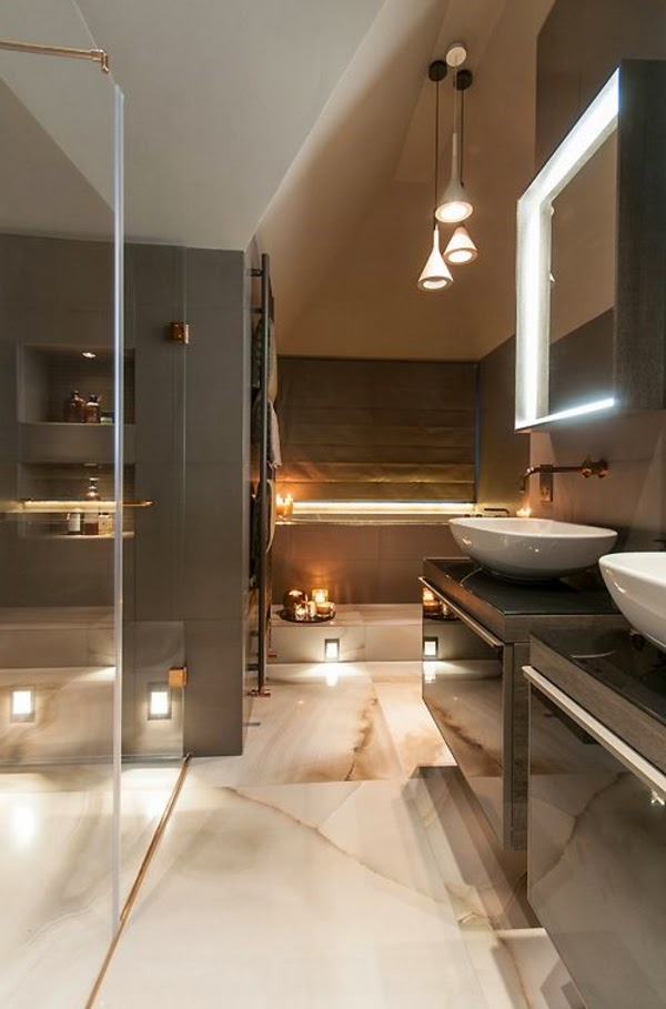 How to choose the proper bathroom lighting ideas 20 examples for Salle de bain marron beige