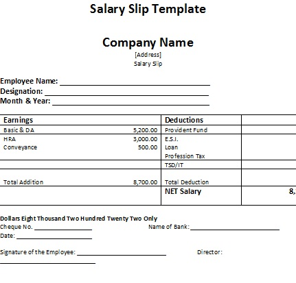 wage slips template – Wage Slip Format