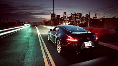 Black Nissan 370Z Skyscrapers Night Lights Photo HD Wallpaper