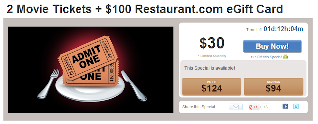 2 movie tickets plus $100 restaurant.com egift card deal