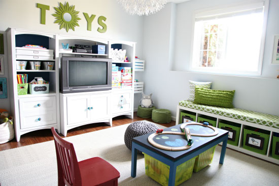 Iheart organizing our playroom reveal for Home office playroom design ideas