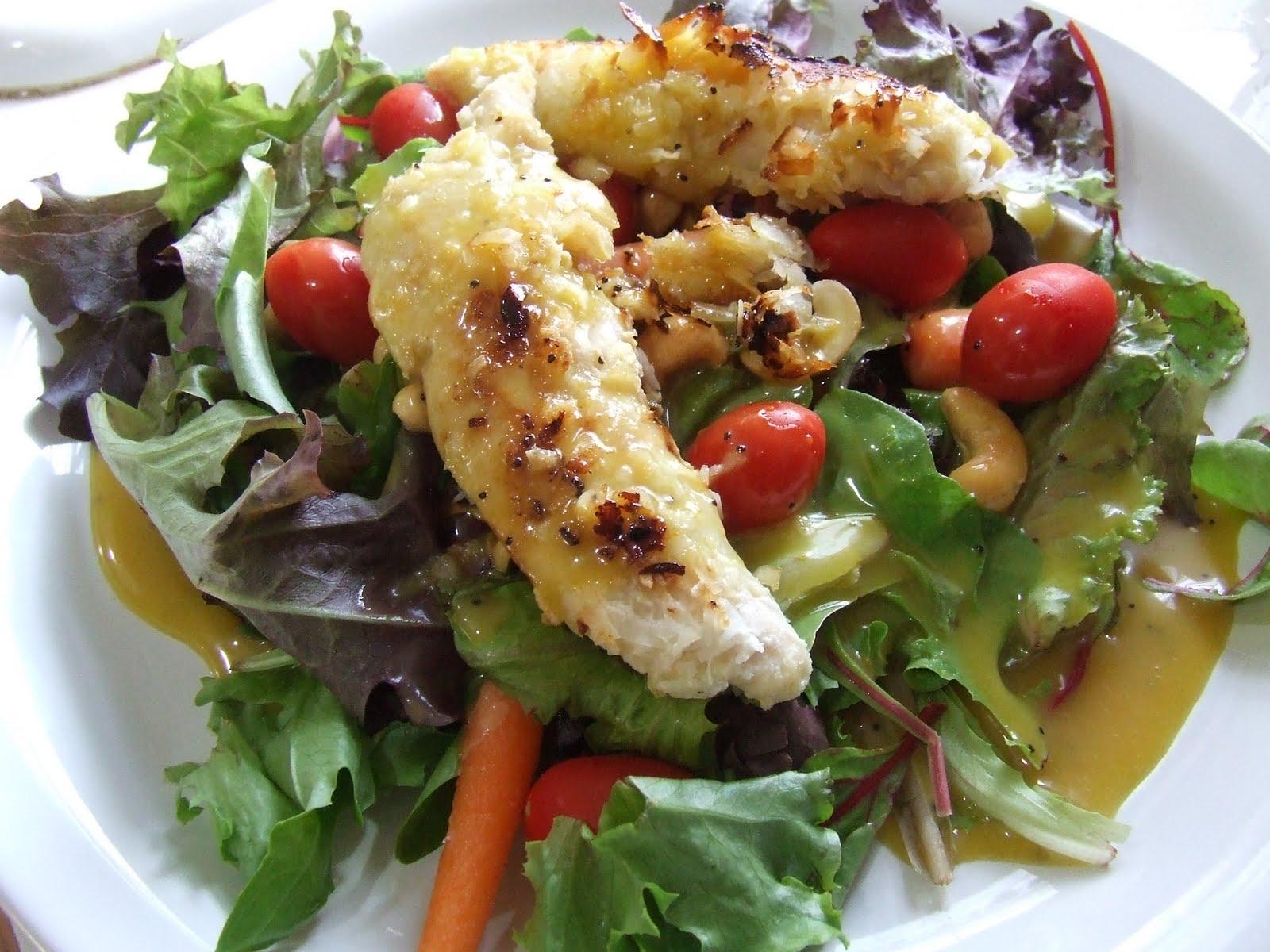 Coconut Chicken Salad with Warm Honey Mustard Vinaigrette