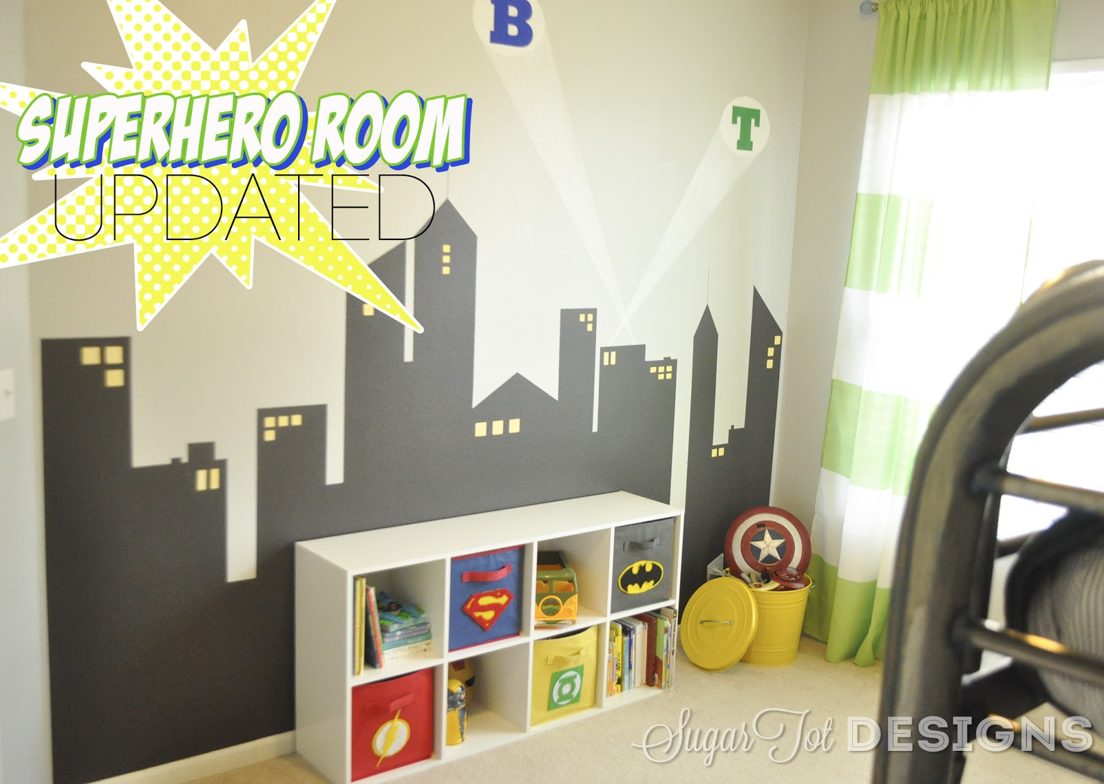 Sugartotdesigns superhero bins tutorial and printable for Superhero bedroom ideas