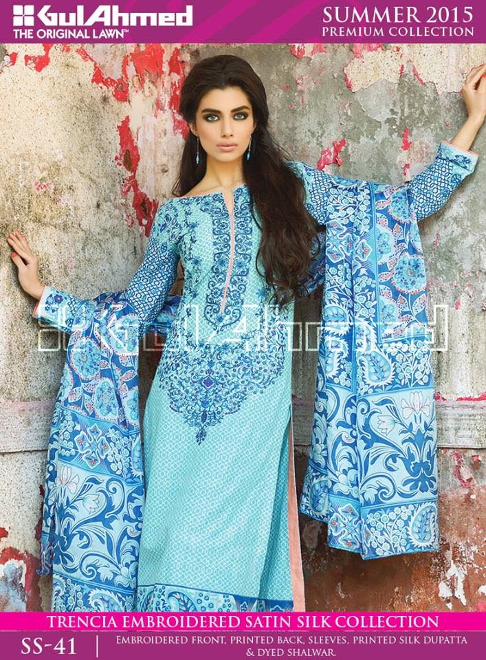 Trencia Satin Silk Dresses by Gul Ahmed 2015