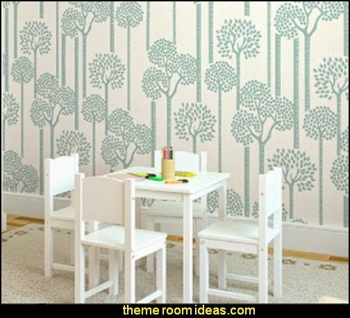 Teal Trees Mural - beatrix potter wall murals  - contemporary Beatrix Potter murals