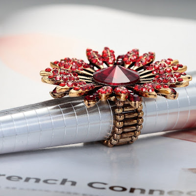 red big sunflower stretch rings