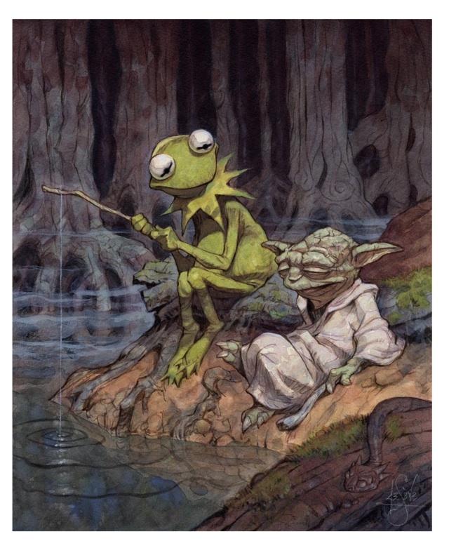 Caco e Yoda batendo um papo