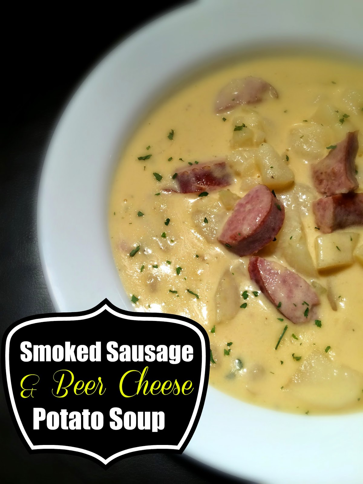 Smoked Sausage & {Beer Cheese} Potato Soup | Aunt Bee's Recipes