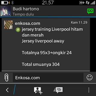 Konfirmasi pesanan dan total pemesanan jersey oleh Budi Hartono di enkosa sport