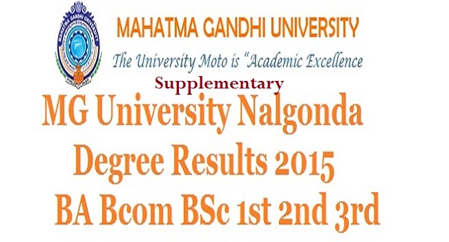 MG University Nalgonda Degree Supplementary Results 2015