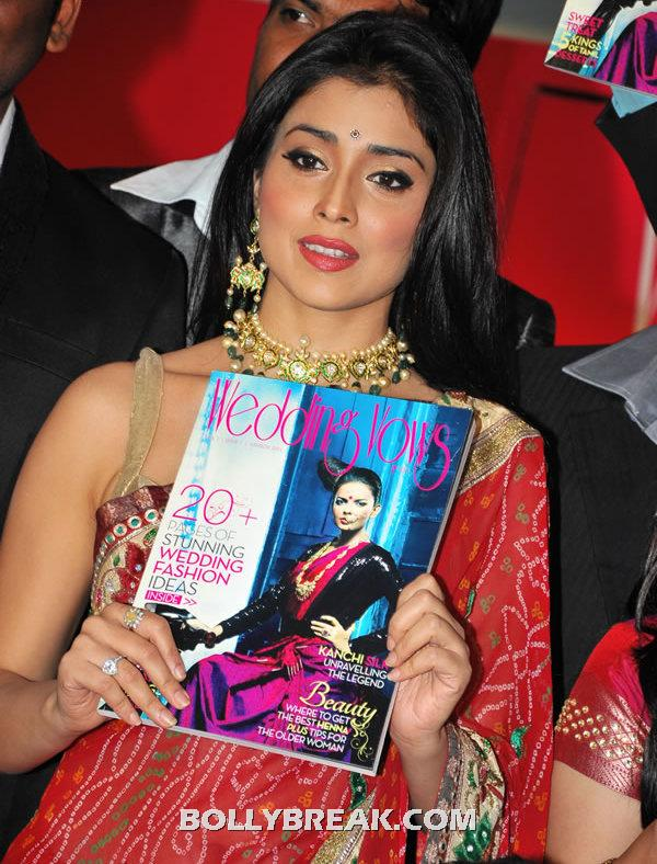 Shriya Saran in Red Saree - Shriya Saran in Red Saree - Wedding Vows Magazine Launch