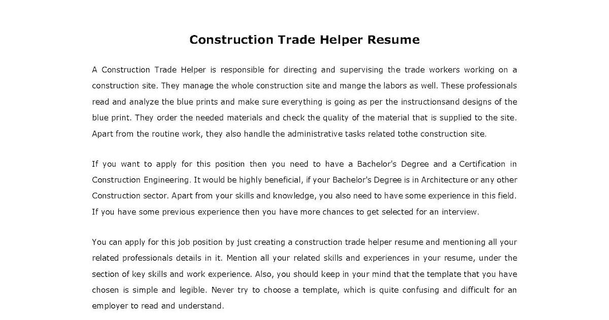 resume sles construction trade helper resume