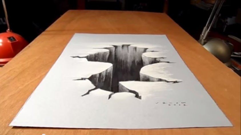 Trick Art on Paper Drawing 3D Hole