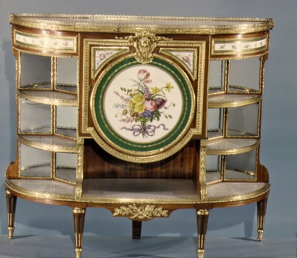 Cabinet, ca. 1730–1785,Porcelain plaques by Sèvres Manufactory,Plaques painted by Jean-Baptiste Tandart,Oak veneered with tulipwood and amaranth, holly, and ebonized holly; gilt bronze, soft-paste porcelain, marble, mirror glass, silk