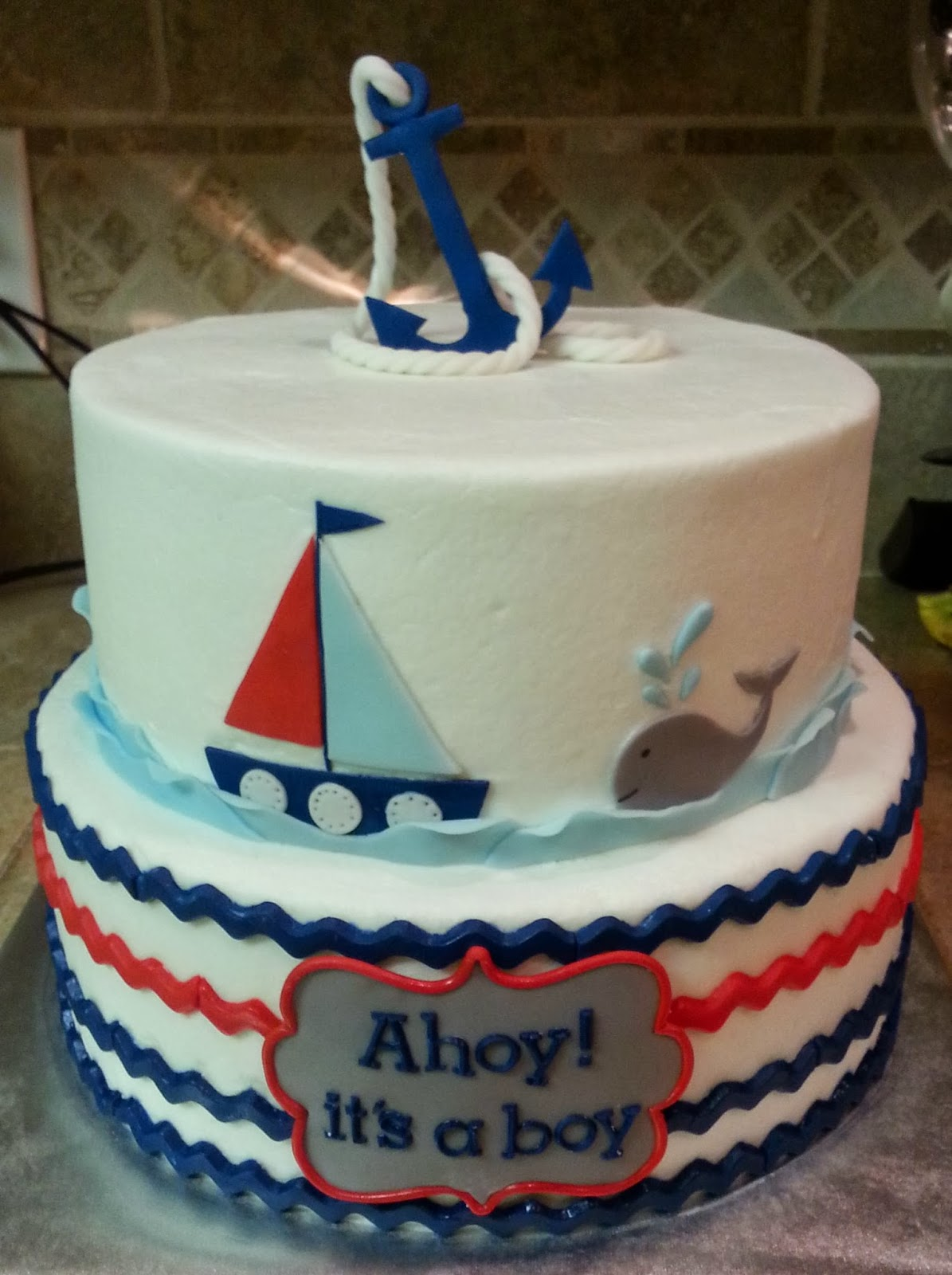 cake dreams nautical baby shower cake