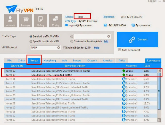 "Trial Korea VPN Servers in FlyVPN Test Account ""vpnu"""