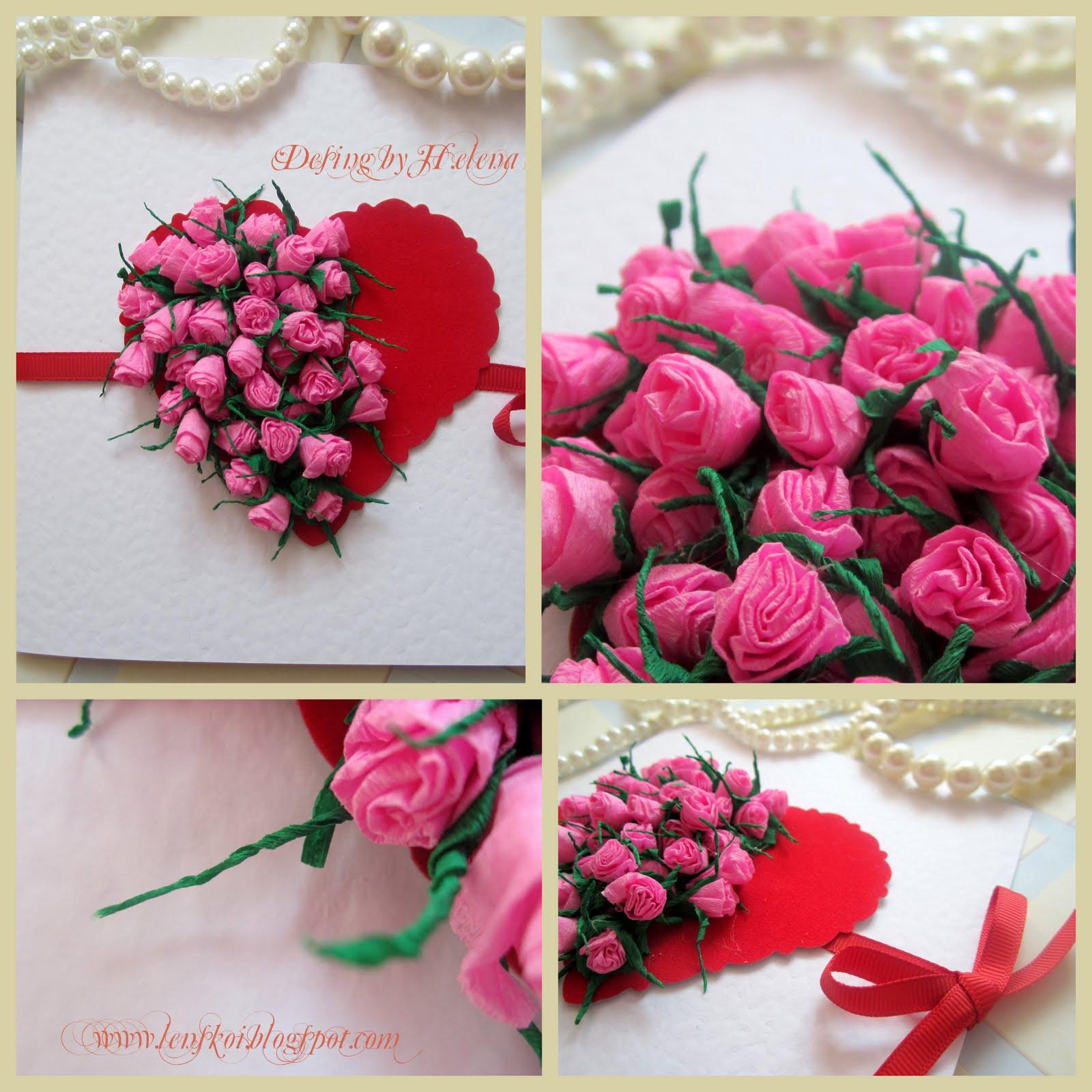 Как сделать из бумаги розу на открытку