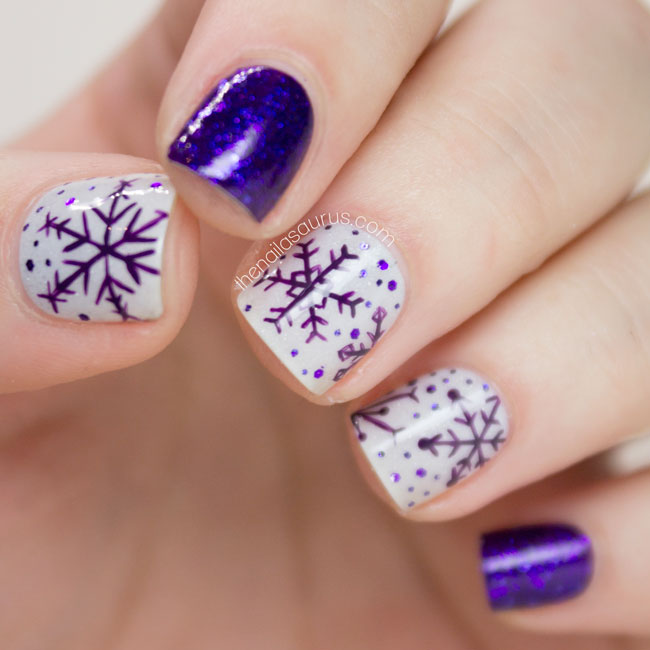 Purple snowflake nail art the nailasaurus uk nail art blog purple snowflake nail art prinsesfo Image collections