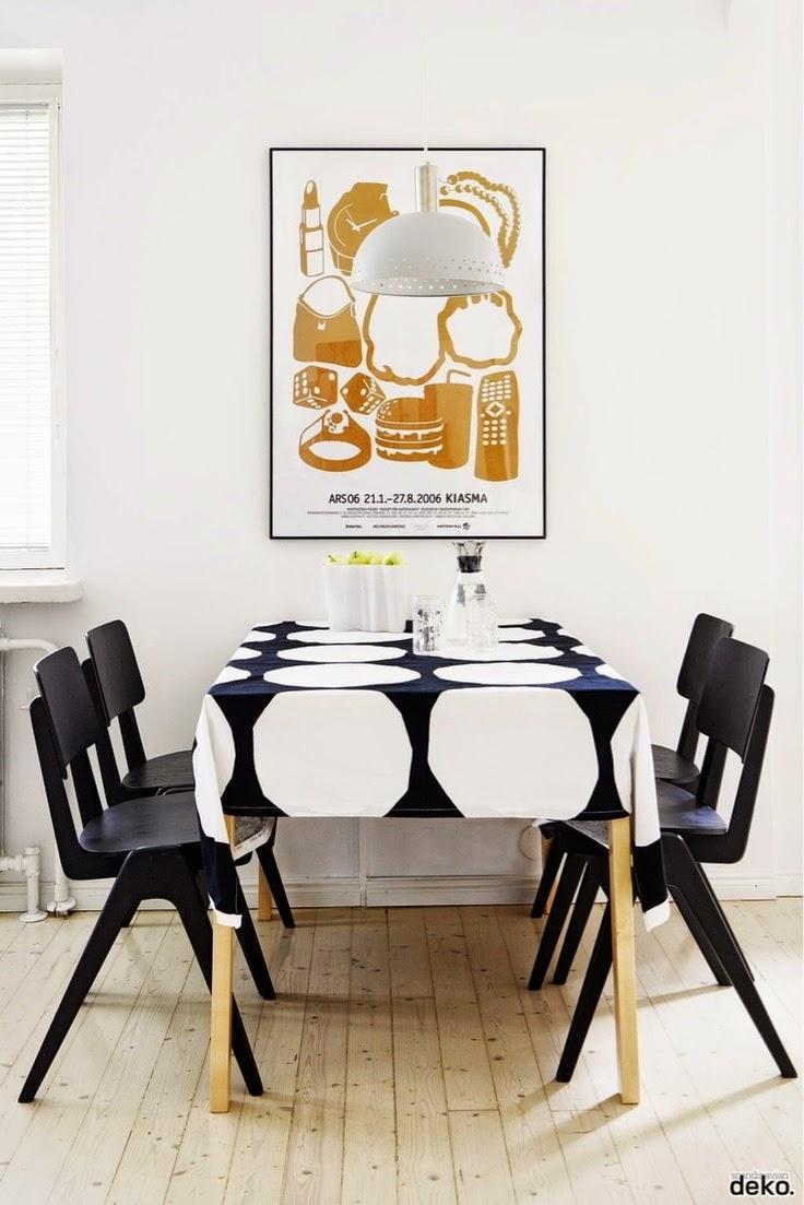 15 comedores decorados en blanco y negro for Comedor sencillo de madera