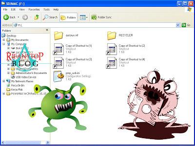 ... banyak sekali file shortcut di root drive removable media (*.lnk
