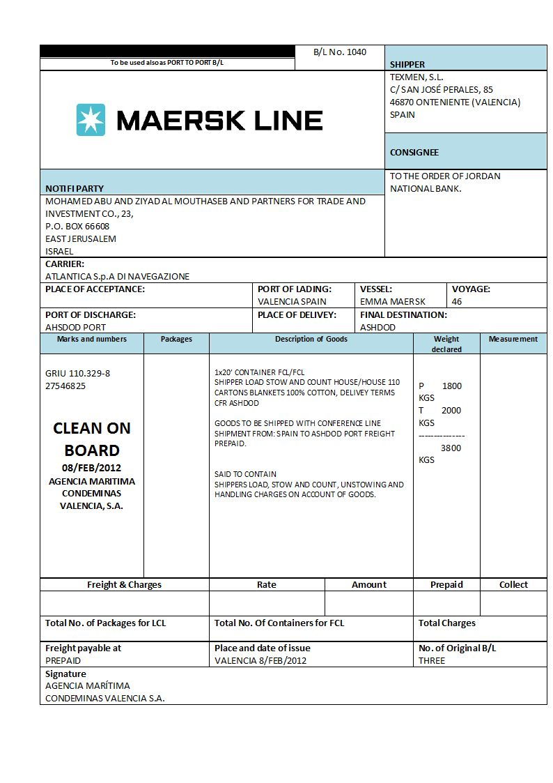 Shipping bill of lading