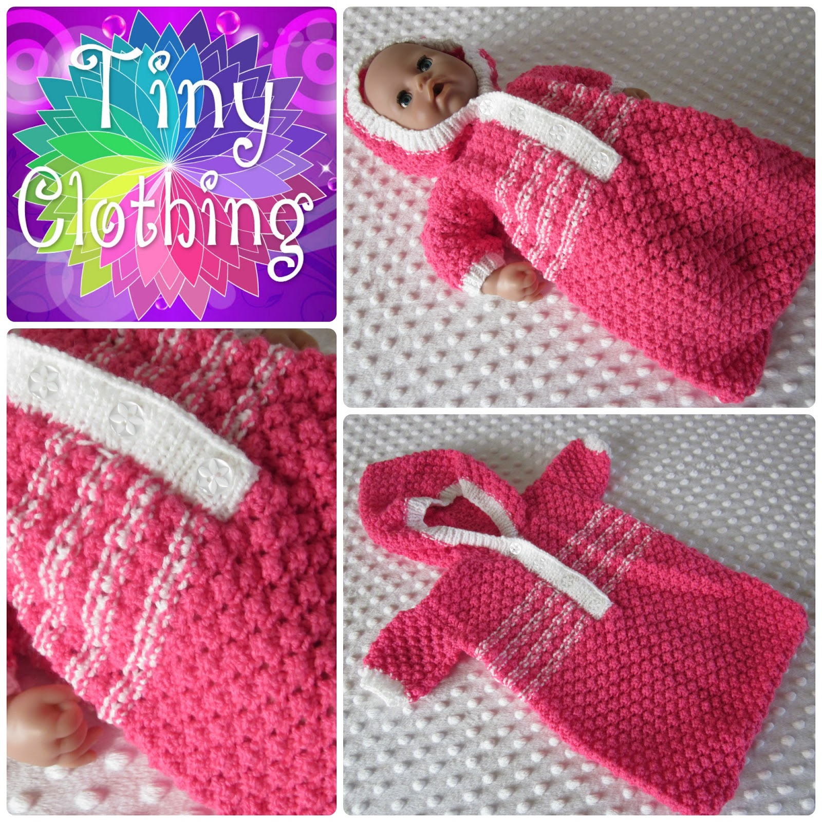 Knitting Pattern For Dolls Sleeping Bag : Hand Knitted Dolls Clothes: Pink And White Sleeping Bag