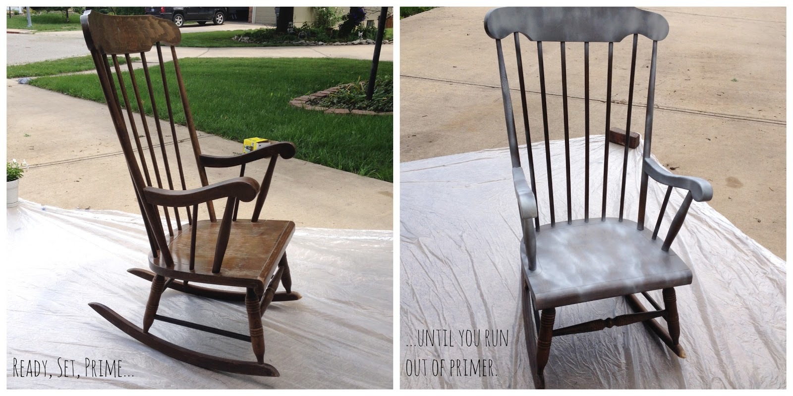 I ran out of primer in approximately 3 minutes and only primed half the chair. Instead of going to the store to buy more primer I just decided to  wing it  ... & DIY :: Spray Painting a Rocking Chair - baby by oakley